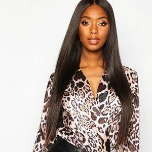 Plus Size Wrap Body Suit - Leopard Print